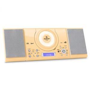 Auna MC 120, stereo systém s MP3, USB, CD, FM, nástěnná montáž, krémová barva