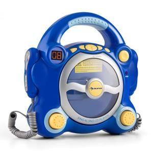 Auna Pocket Rocker, modrý, karaoke systém s CD přehrávačem, Sing A Long, 2 mikrofony, baterie