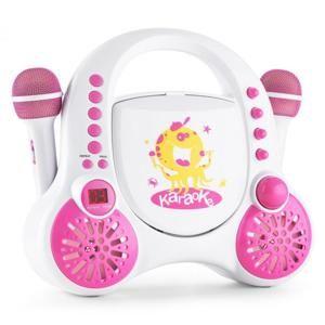 Auna Rockpocket, bílý, dětský karaoke systém, CD, AUX, 2 x mikrofon, sada nálepek