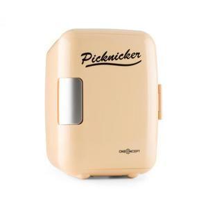 OneConcept Picknicker, krémový, termobox s funkcí chlazení / udržení v teple, mini, 4 l, AC DC, auto, EMARK certifikát