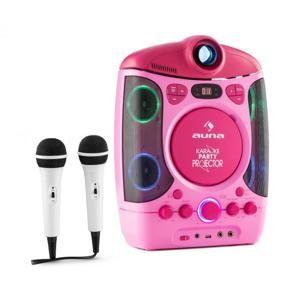 Auna Kara Projectura, růžový, karaoke systém s projektorem, LED světelná show