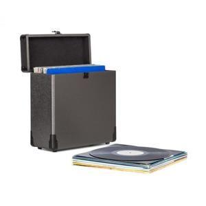Auna Vinylbox Alu, kufřík na vinylové desky, až do 30 ks desek, sklopný, černý
