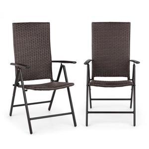 Blumfeldt Estoril, zahradní židle, polyratan, hliník, 7 úrovní, skládací, hnědá
