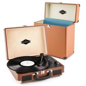 Auna Peggy Sue Record Collector, hnědá, gramofonová sada, retro gramofon + kufr na desky